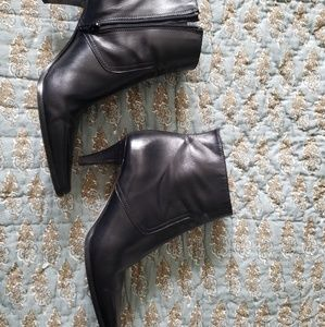Coach black leather side zip high ankle boots